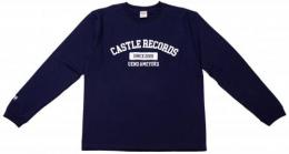 "【CP対象】 CASTLE-RECORDS LONG T-shirts ""college"" (NAVY x WHITE)"